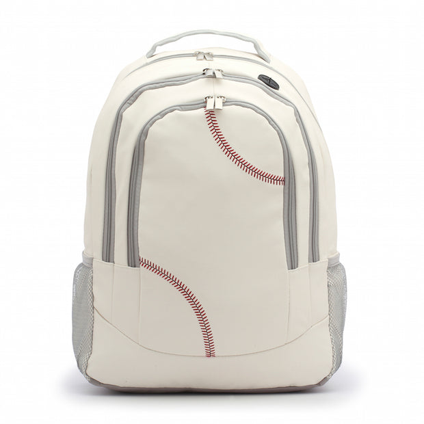 Baseball Material Backpack with red stitching