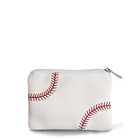 white baseball coin pouch with red stitching