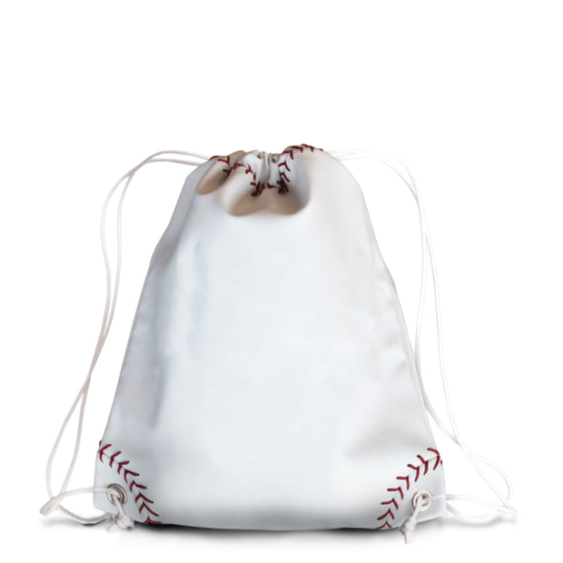 white baseball bag with red stitching