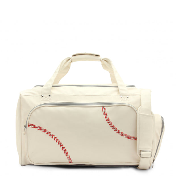 white and red baseball travel bag