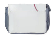 white baseball messenger bag with red stitching