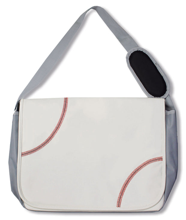 baseball messenger bag with shoulder strap