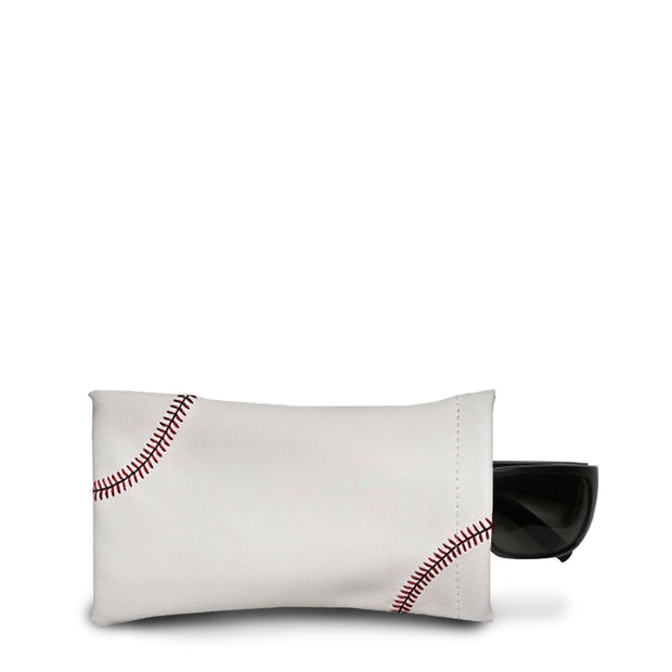 white baseball leather sunglasses case