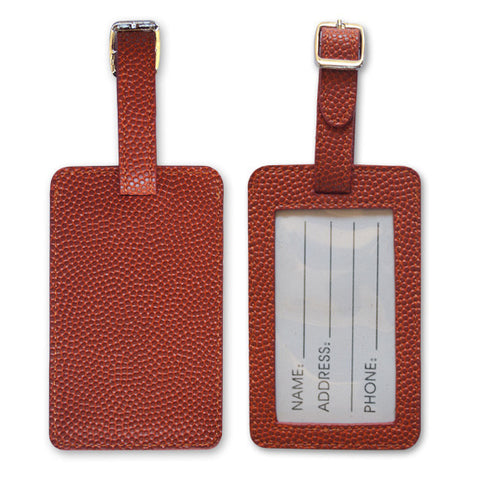 basketball leather luggage tags