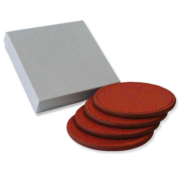 basketball leather coasters gift set
