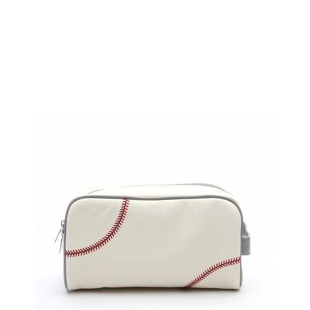 toiletry bag that looks like a baseball