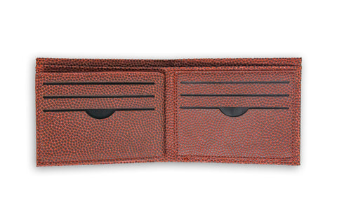 brown football wallet with card holder slots
