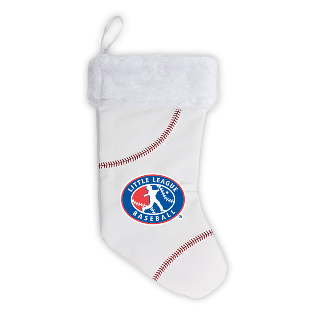 Little League Christmas Stocking made from baseball material