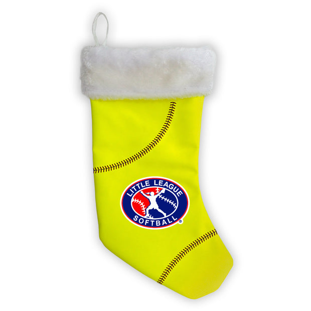 Little League Christmas Stocking made from softball material