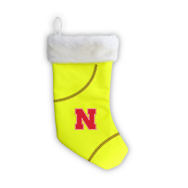 "Nebraska Cornhuskers 18"" Softball Christmas Stocking"