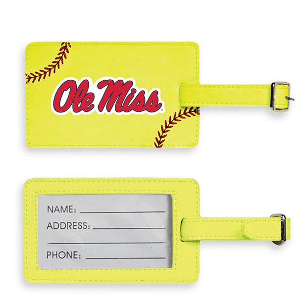 Ole Miss Rebels Softball Luggage Tag