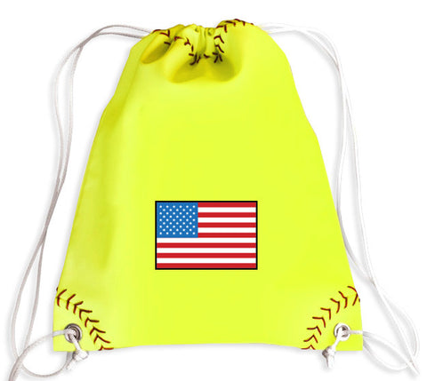 USA National Pride Softball Drawstring Bag