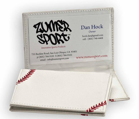 Baseball Business Card Holder Made From Actual Baseball Material