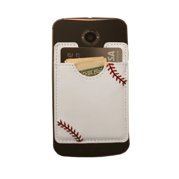 Baseball Stick-On Cellphone Wallet