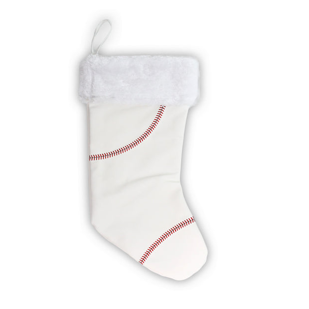 Sports Christmas Stocking made from baseball material