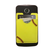 Softball Stick-On Cellphone Wallet