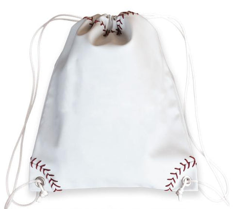 Baseball drawstring cinch bag made from ball material