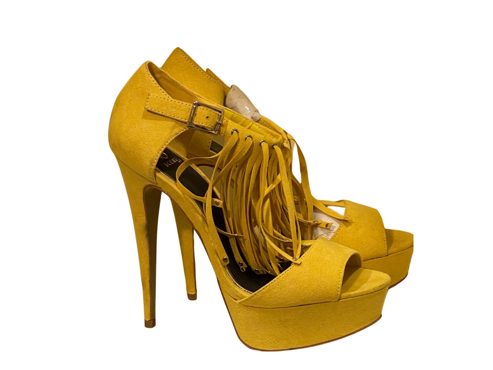 Yellow Stiletto Faux Suede Shoes - 9M