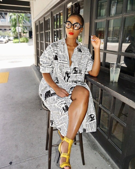 Long Sleeve News Print Vintage Shirt Dress