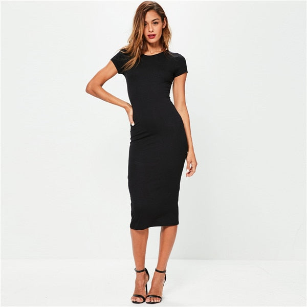 Short Sleeve Casual T-Shirt Bodycon Pencil Dress