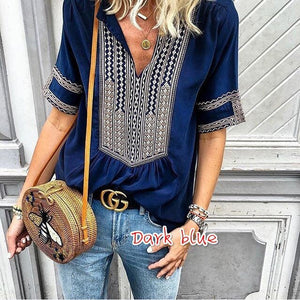 Ethnic V-Neck Casual T-Shirt