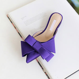 Satin Pointed Bow Tie Flat Mules