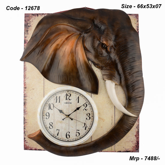 Elephant Head Wall Clock, 66cm x 53cm x 07 cm