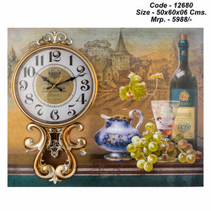 Dining Room Wall Clock, 50cm x 60 cm x 06cm, wooden base
