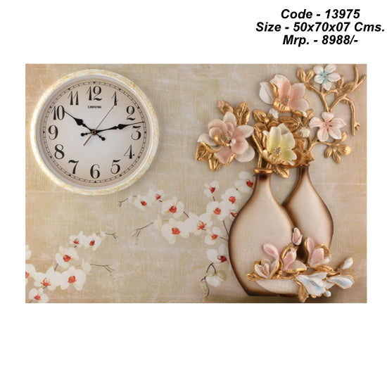 Wooden Base Flower Pot Wall Clock, 50 cm x 70 cm x 07 cm