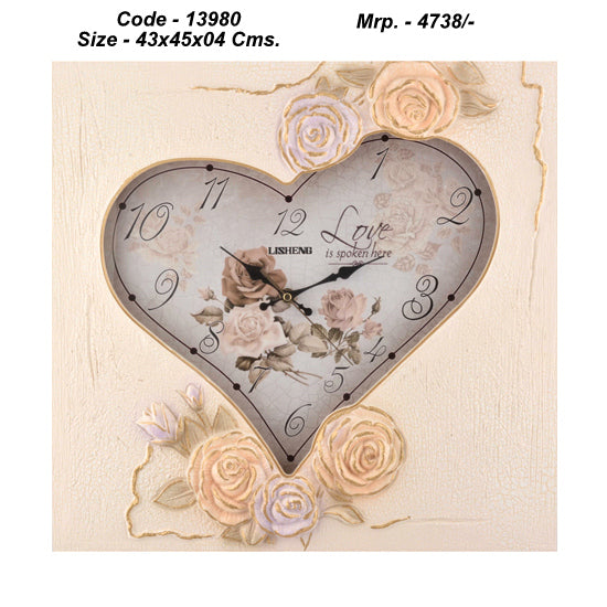 Wooden Base , Heart Cut Out , Personalised Wall Clock , 43cm x 45cm x 04 cm