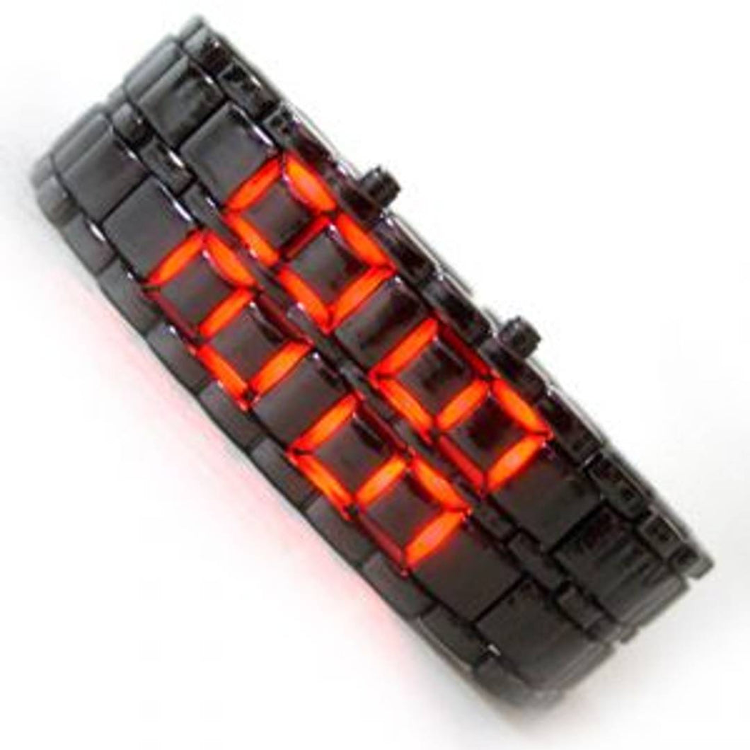 Black Metal Bracelet Red Led Watch For Men