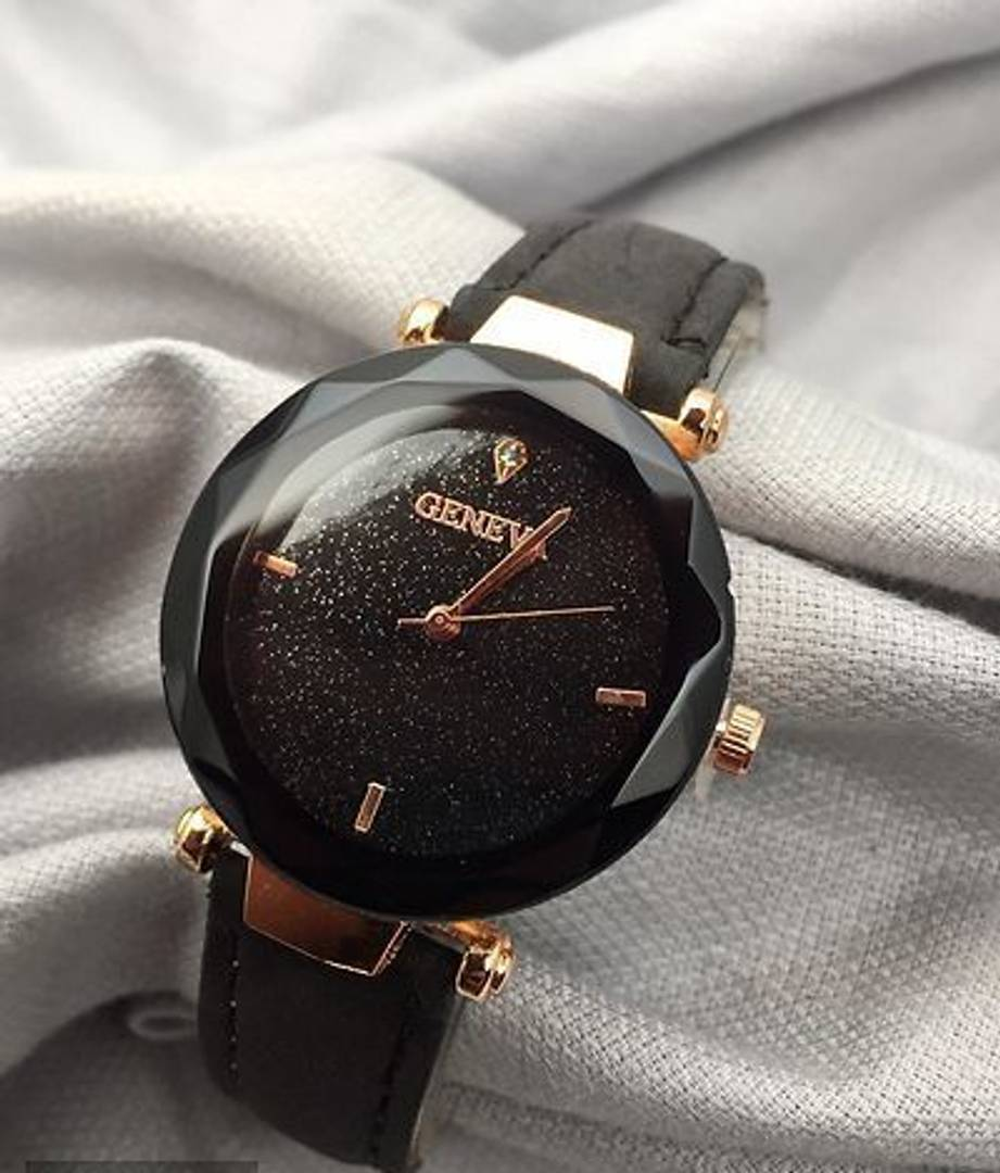 Black Analog Watch With Synthetic Leather Strap