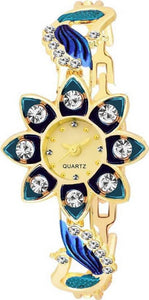 New Stylish Blue Golden Diamond Studded SunFlower Watch For Women