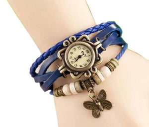 Vintage Round Dial Blue Synthetic Leather Strap Analog Watch For Women