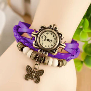 Vintage Round Dial Purple Synthetic Leather Strap Analog Watch For Women
