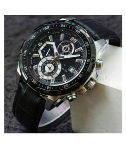 Men Fashion Chronograph Black Leather Watch