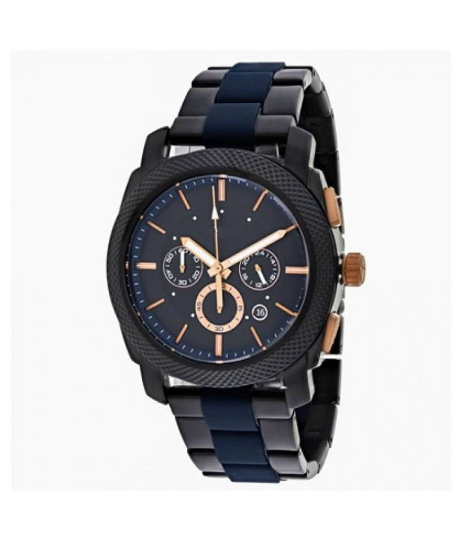Men Fashion Chronograph Blue and  Black Metal Watch