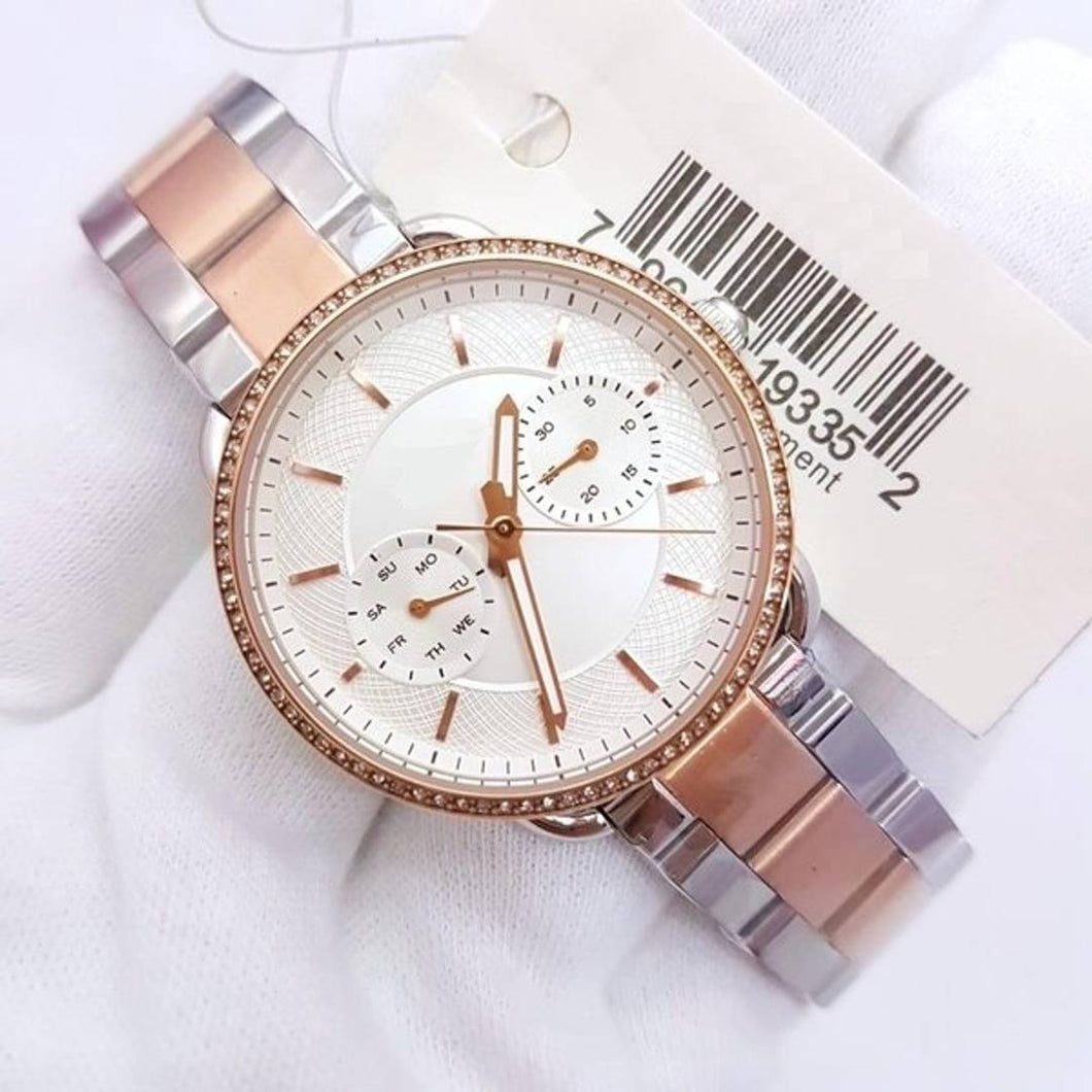 Womens Gold Silver White Dial Metal Womens Watch For Girl Or Woman Dual Tone ES4396 - Gift