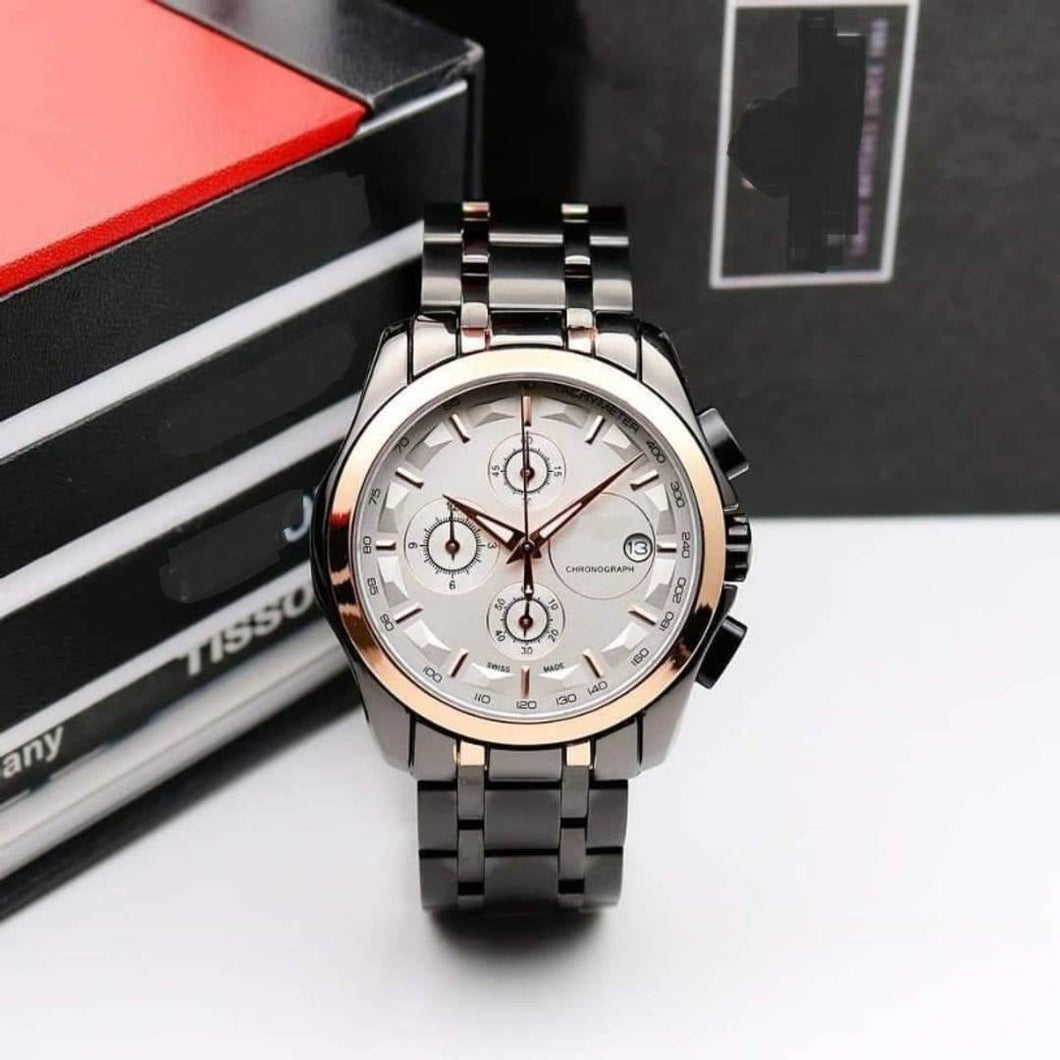 Men Fashion Chronograph Rose Gold Black Metal Watch