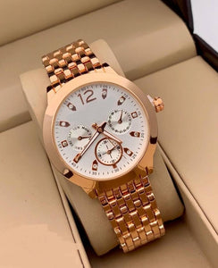 White Dial Women's MK-995 Watch For Girl Or Woman Chronograph Multi Dial Gold Day Date
