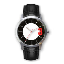 Load image into Gallery viewer, Personalized wrist watch- Black leather belt - for men