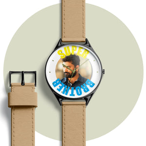 Personalised wrist watch with photo and text