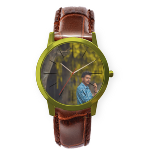 Personalized Wrist watch- Brown leather strap- for men