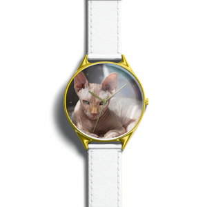 Personalized wrist watch with cat's photo