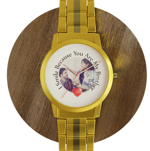 Golden color Chain strap, custom Photo and message, wrist watch
