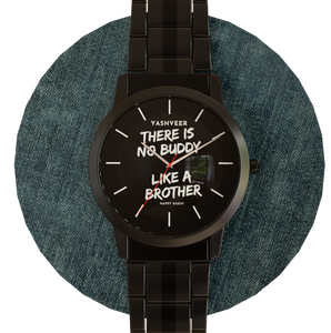 Personalized name and message metal wrist watch.