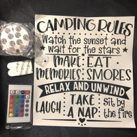 Camping Rules Lighted bucket DIY Kit