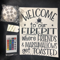 Welcome To Our Firepit Lighted bucket DIY Kit - Meg Campbell Designs
