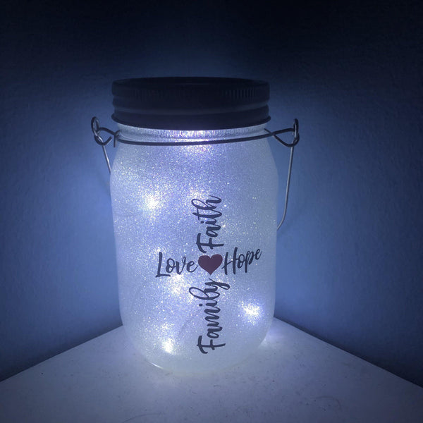 Family Faith Hope Love Solar Lantern - Meg Campbell Designs