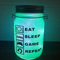 Eat Sleep Game Repeat Solar Lantern - Meg Campbell Designs